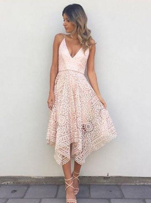 rosa kurze brautjungfernkleider spitze knielang kleider