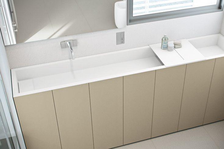 Badewanne Waschtisch System in Beton Optik BAD