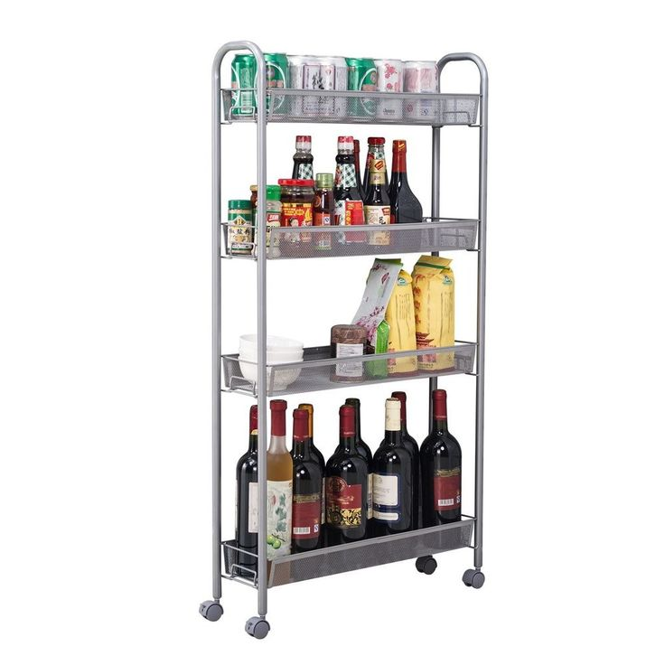 Slim Storage Tower 4-Tier Slide Out Rack Kitchen Gap Cupboard W/ Casters Silver #SlimStorageTower