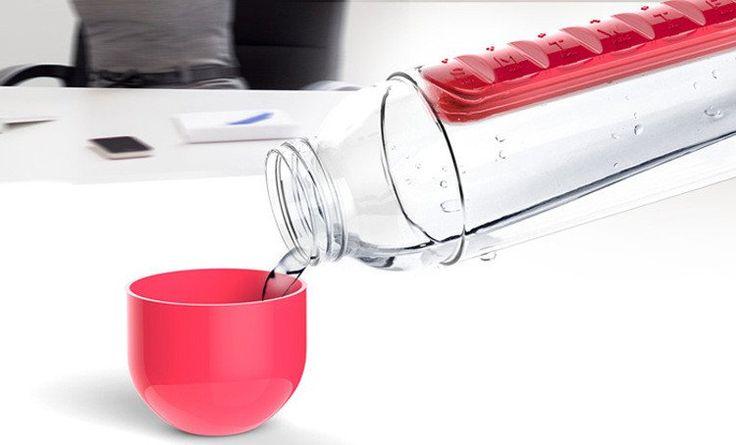 600 ml pill case water bottles / Combine Daily Pill Box Organizer Outdoor kettle combination set Pills storage