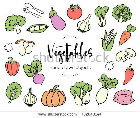 Hand drawn vegetables vector elements