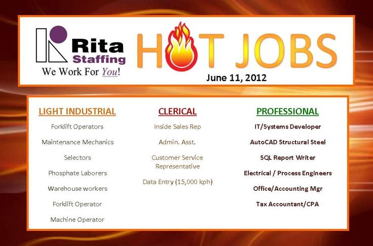 Current Rita Staffing HOT JOBS / Immediate Openings