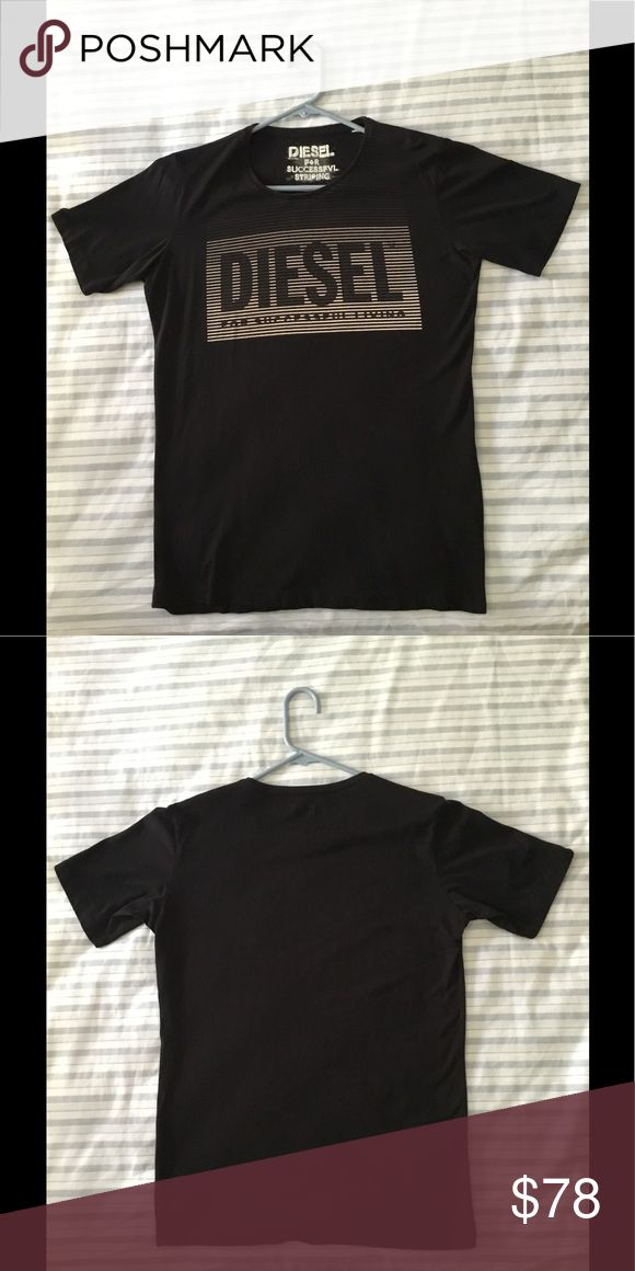 """Diesel T shirt Size: Medium, but label says Small   Material: 100% Cotton   Length: 27""""   Width: 20""""   Condition: Used, but in EXCELLENT condition   Made in Turkey   Color: Black   Diesel   Crew-neck   T-shirt   Short Sleeve Diesel Shirts Tees - Short Sleeve"""