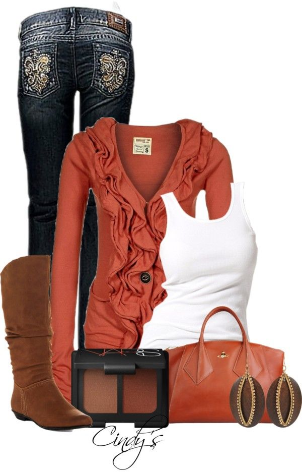 """Cooler Days"": Sweater, Fashion, Fall Style, Fall Colors, Dream Closet, Cardigan, Fall Outfits, Fall Winter, Burnt Orange Shirt"