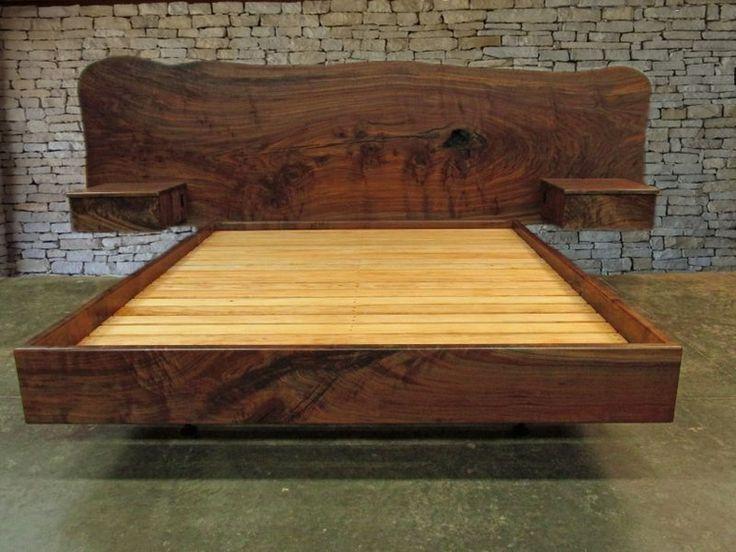 claro walnut slab headboard matching side tables california king custom made by rocky california king bed framefloating - Wooden King Bed Frame
