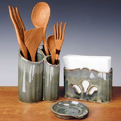 set: spoon rest and utensil holder