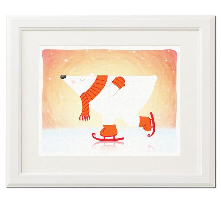 Polar bear's ice skate.. Original art print - Nursery illustration - Baby gift - Nursery art print - Nursery decor - Home decor by Darvo on Etsy
