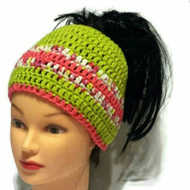 New hat in my shop. Colorful crochet ponytail hat.