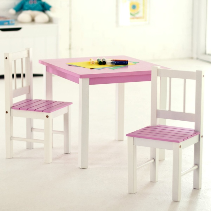 Lipper Kids Small Pink and White Table and Chair Set - Kids Table and Chair Sets at Play Kitchens