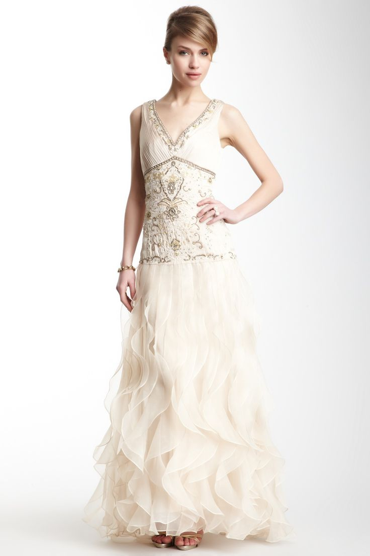 V-Neck Beaded Gown by Sue Wong