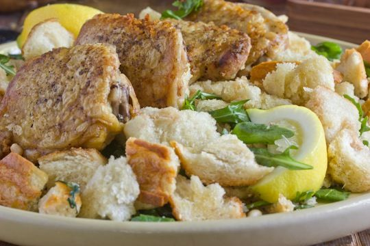 Crispy Chicken Thighs & Warm Bread Salad - going to be dinner tonight