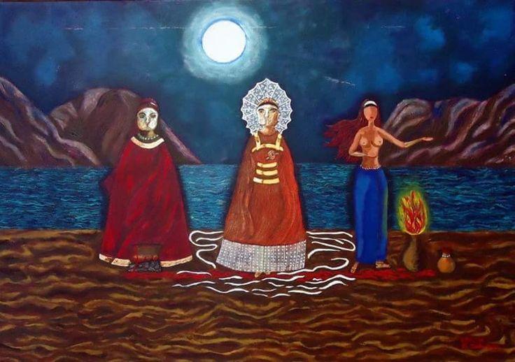 Tres Hechiceras y Serpientes. Pintora mexicana, Rosa Elías, la gata roja. CDMX.