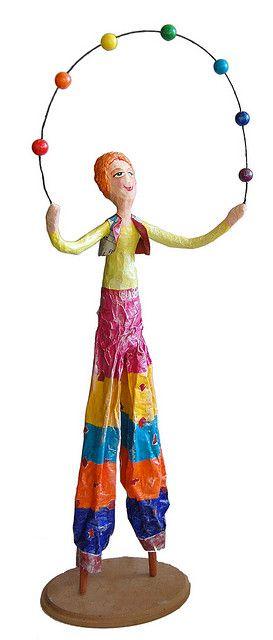 Paper mache circus juggler