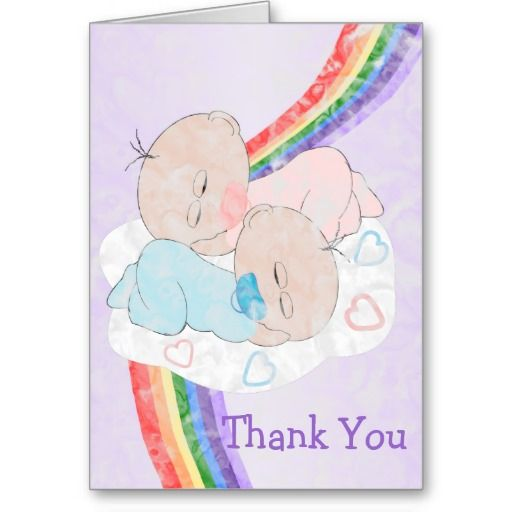 Rainbow Baby Thank You Greeting Card | Twins baby shower ...