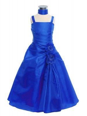 Royal Blue A-Line Lovely Taffeta Long Flower Girl Dress (Sizes 2-20 in 7 Colors) - Junior Bridesmaid Dresses - JUNIOR