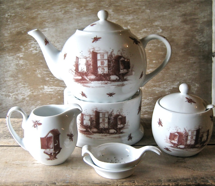 Bees And Honey Tea Set With Teapot Warmer Creamer Sugar Bowl Strainer Spoon From
