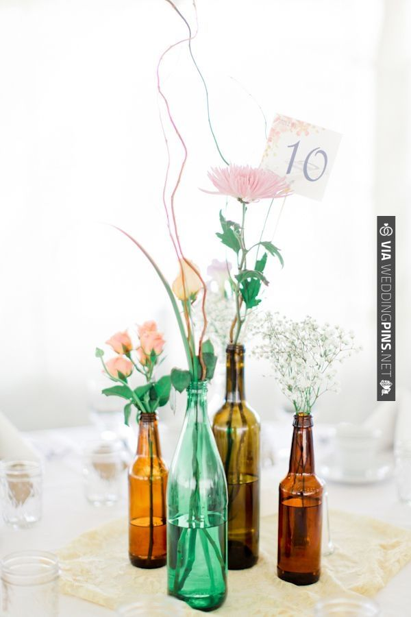 101 best vaces decorations images on pinterest table for Beer bottle decoration ideas