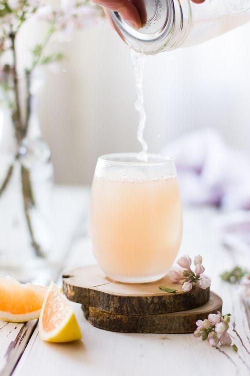 pink grapefruit, ginger, and lemongrass sake cocktails.