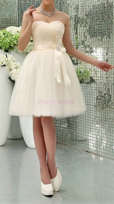 short cream tulle bridesmaid dresses with satin sash by Charmbride, $109.00
