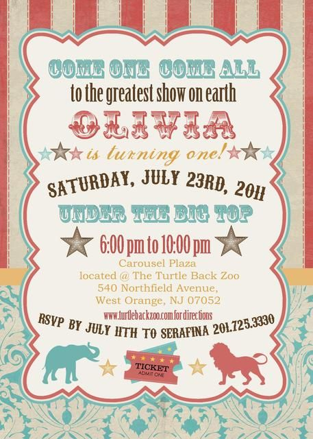 While I don't advocate circuses (with animals) I sure love me some vintage circus/carnival party themes & invites!