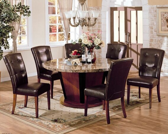 7 pc Bologna round brown marble dining table set with pedestal base and leather…