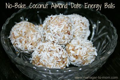 Manager to Mom: No-Bake Coconut Almond Date Energy Balls {Recipe}