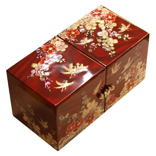 """125  Item name: Lacquer ware inlaid new mother of pearl handcrafted jewelry case,jewel box     Material: Wood ,Mother of pearl     Size: 3.54"""" * 3.54"""" *7.47"""" (9 * 9 *19cm)    Japanese apricot flower  This thesis is about an observation of the way how the symbolism of flowering plum was appeared in the ink plum painting. Flowering plum is only a plant, but can be interpreted differently according to how you look at."""
