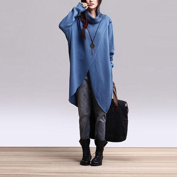 Irregular Hem Cotton Sweater Knitwear Knitted Tops Woman Coat Outwear - Blue- Women Clothing