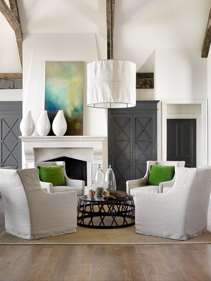 Living Room Painted Built Ins Pendant Beams Coffee Table The Zhush Style Stalking Melanie Turner Interiors