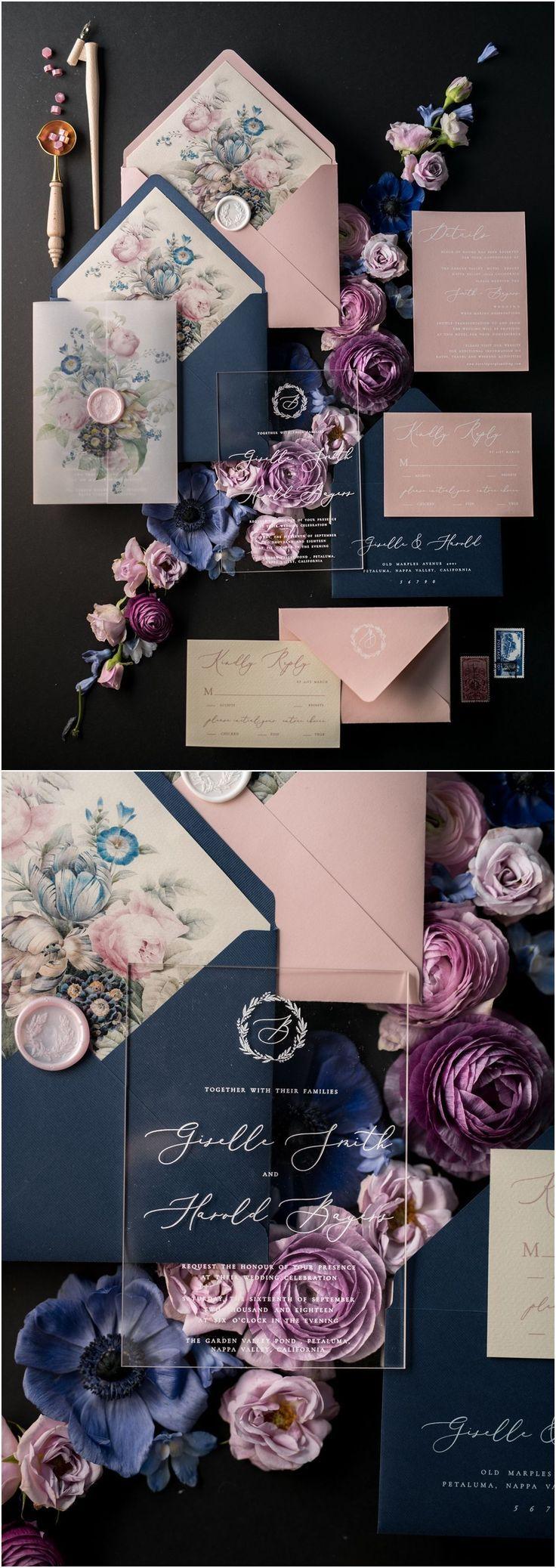 Invitaciones de boda vintage azul marino y rosa 01 / ACGN / z # bodas #navywedding #pink