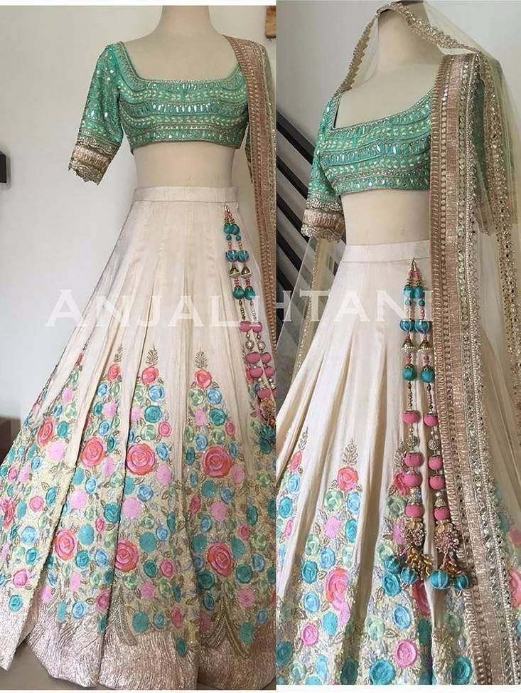 Multicolor Embroidered Art #Silk Unstitched #Lehenga! Shop for $91.00 #ethnicwear #indianethnic #dressesonline