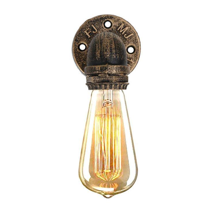 Fuloon Vintage Wandleuchte Seitenlampe Single Head Retro Industrial  Wasserleitung Lampen (Birne Nicht Enthalten) (