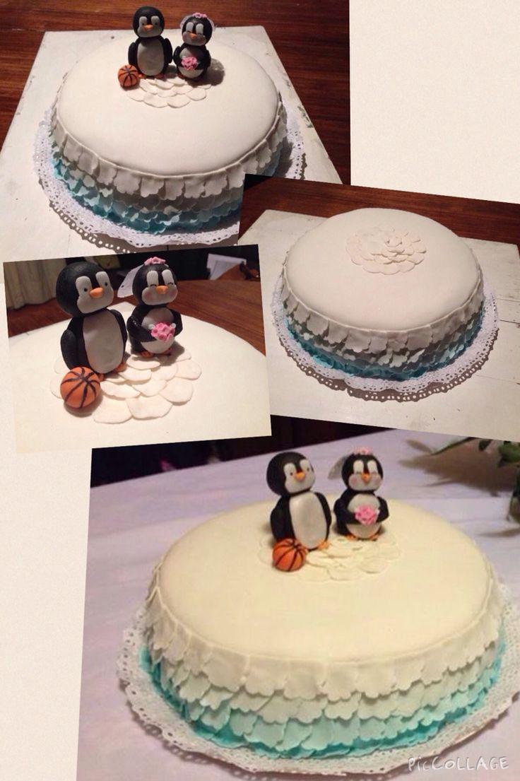 Torta novios civil pingüinitos - Romina Isella
