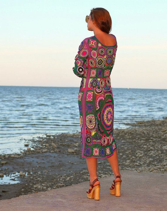 SOLD Crochet dress Bohemia Hand knitting dress Hippie by Balarri