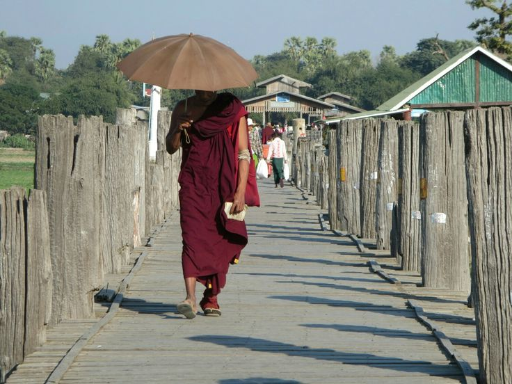 Monk on U- Bein- Bridge, Amarapura, Myanmar
