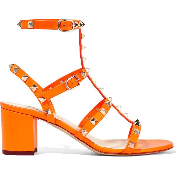 Valentino - Rockstud Neon Leather Sandals (€665) ❤ liked on Polyvore featuring shoes, sandals, bright orange, leather shoes, ankle strap sandals, orange shoes, mid heel sandals and mid-heel sandals