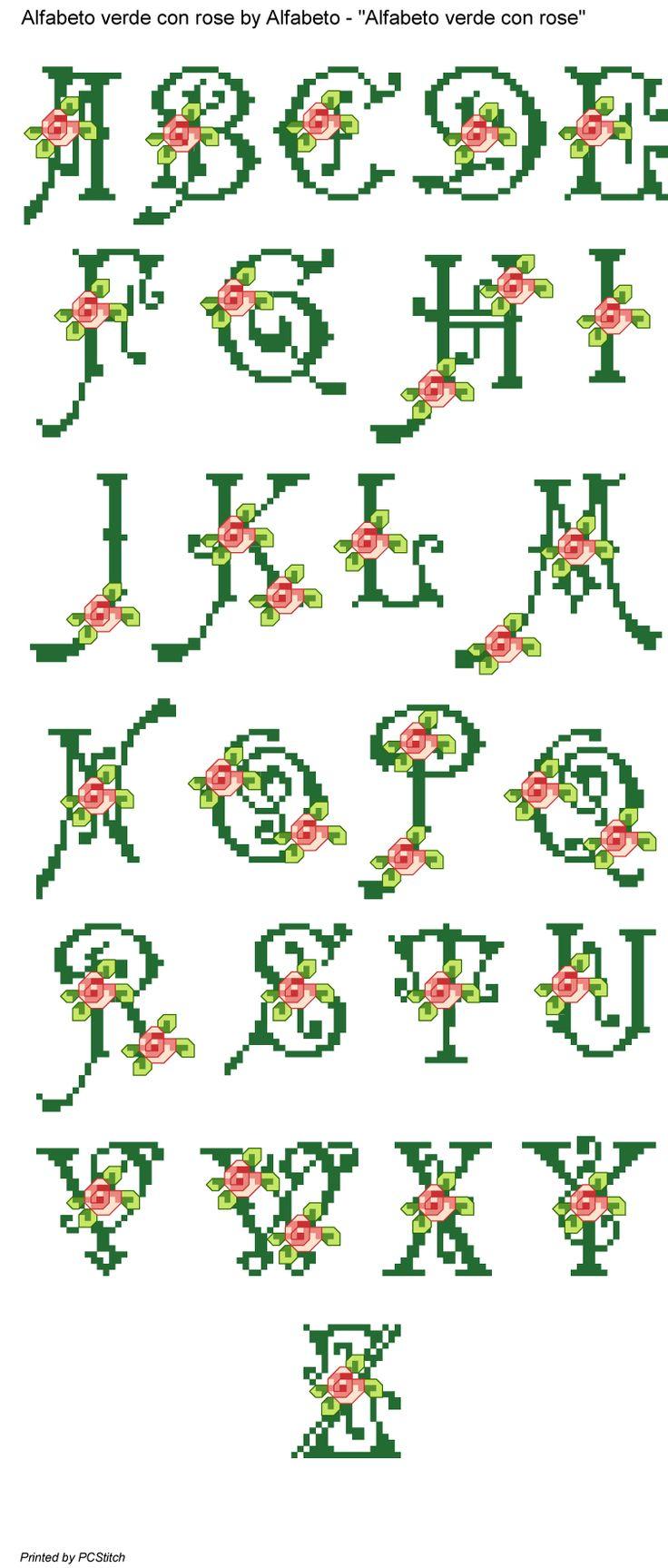 Alfabeto verde con rose