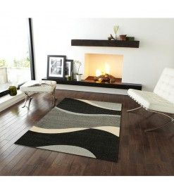 Subtle Waves Rug Black Gray|MODERN