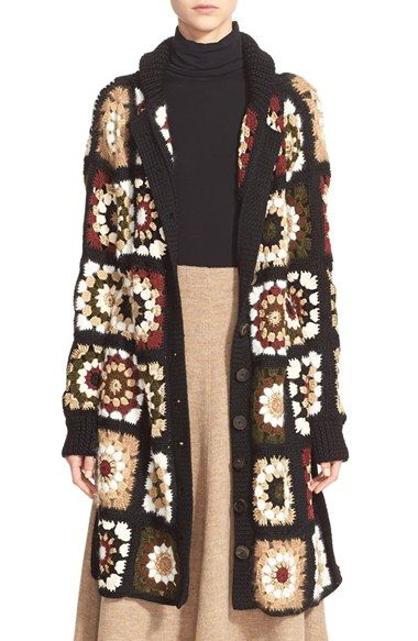Rosetta Getty 'Granny Square' Mixed Media Cardigan