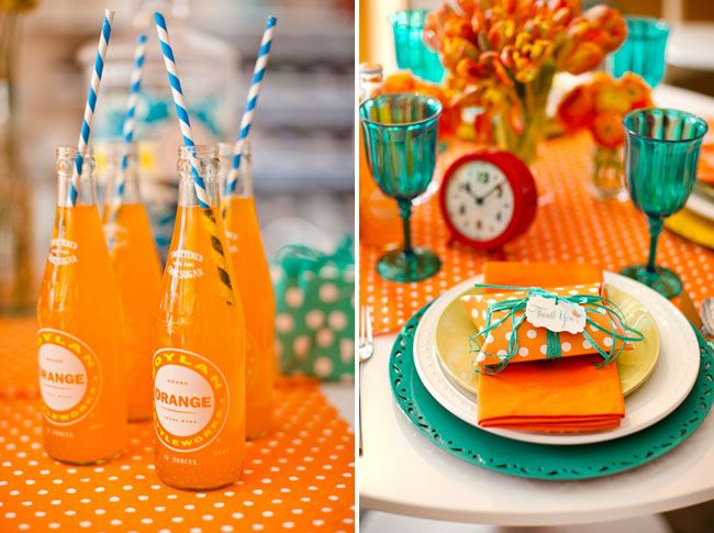 Orange and Blue Broncos Themed Superbowl Party Menu