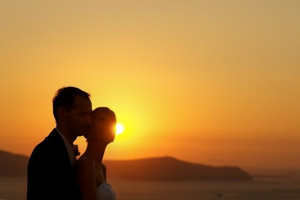 Just #Married in #Santorini under the #Sunset!