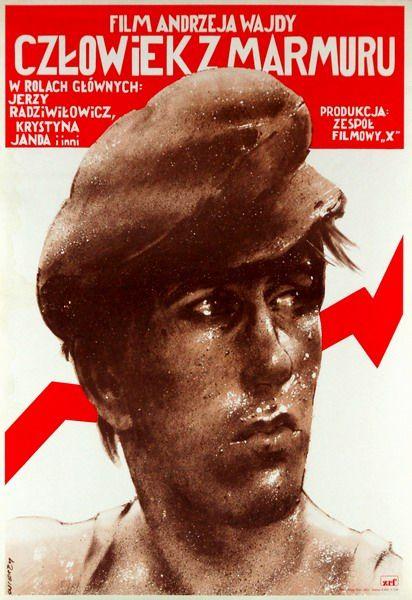"""Waldemar Świerzy, """"Człowiek z marmuru"""", źródło: Galeria Plakatu BUW"""