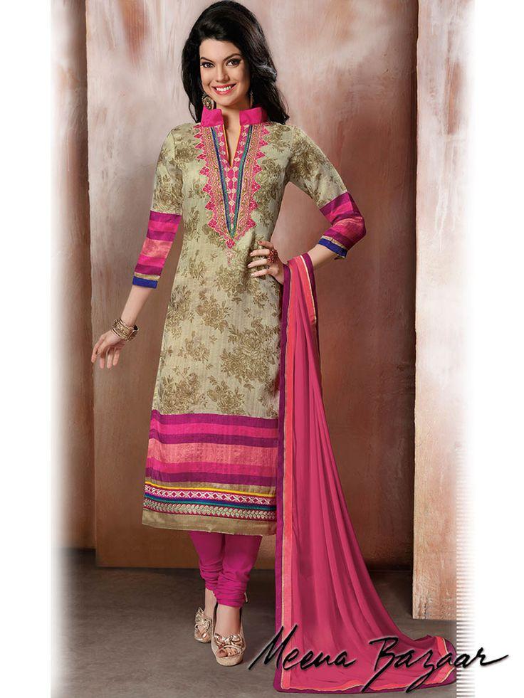 Products :: Salwar Kameez :: Multicolor Raw Silk Salwar Kameez