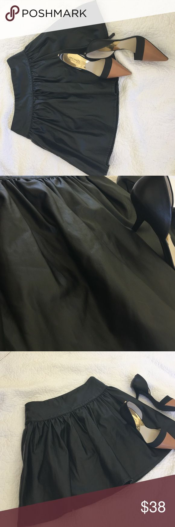 FRENCH Connection black pleather skirt Excellent condition FRENCH Connection black pleather skater skirt French Connection Skirts Circle & Skater