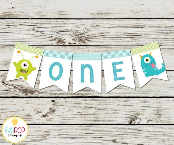 LITTLE MONSTER BIRTHDAY, Highchair Banner, White, Chalkboard, Instant Download, Birthday Party Decorations, Digital Printable