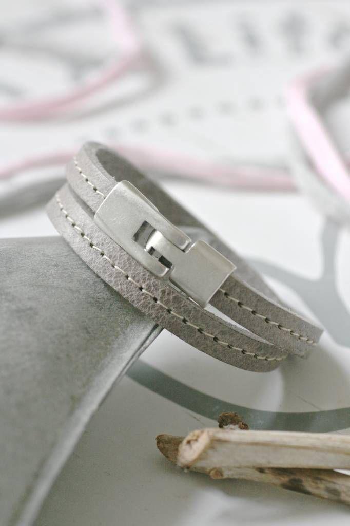 Dubbele leren Armband met stiknaad, grijs