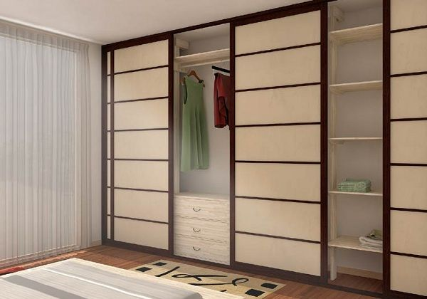 I love what she did to her closet doors to make them blend in with the room