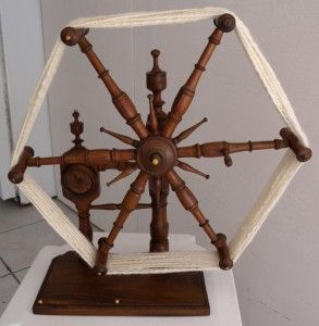 """Norway called """"clockenhen"""", US a yarn winder, England """"clock reel"""".  Origin of """"Pop Goes the Weasel"""" A """"weasel"""" = a yarn winder. the """"monkey"""" in the rhyme is a metal pin on the wooden gear. It slowly """"chases"""" its way around n when 100 yards yarn are wound, the """"monkey"""" crawls under the long wooden strip then releases, Pop!! goes the weasel. It scares the daylights out of you when it happens and you could see how kids would find the mystery of when the Pop!!"""