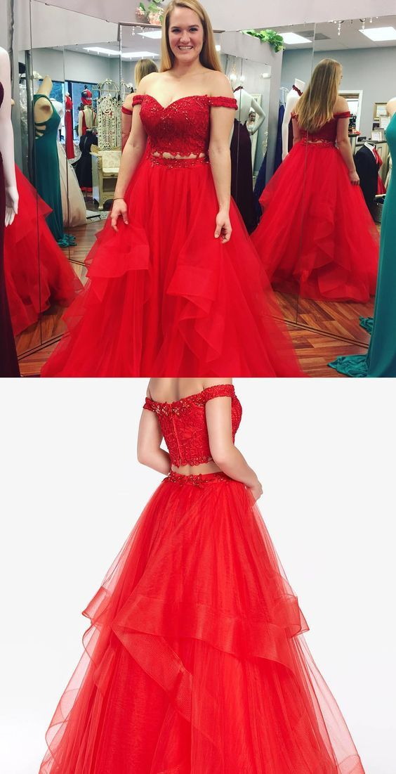 e2a50f049d off the shoulder two piece red long tulle prom dress 51849  RosyProm   fashionpromdress  charmingpromgown  longpartydress  simpleeveningdress   redpromdress   ...