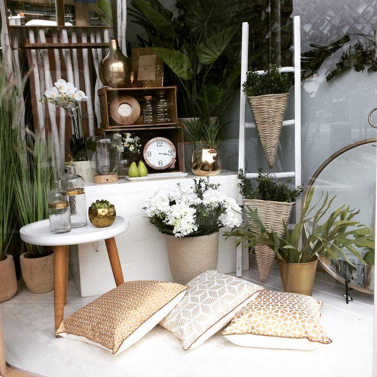 New window #plants #gold #mirrors #clock #flowers #vines #homedecor #quinceyjac